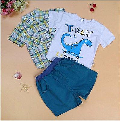 Conjunto 3 peças Short azul + Camiseta + Camisa
