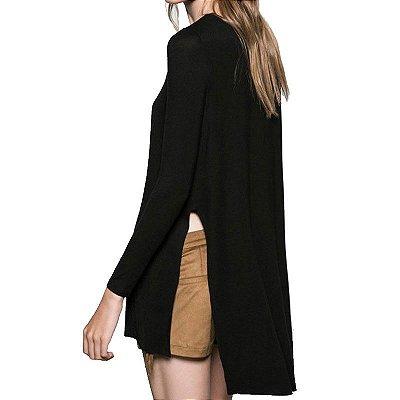 Blusa Longa com Fenda - 3 cores