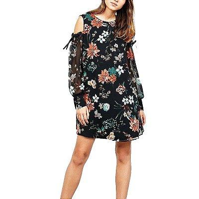 Vestido Floral com Ombro Vazado