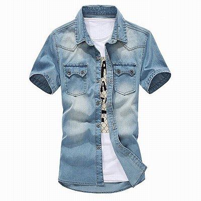Camisa Jeans Masculina Manga Curta - 2 cores