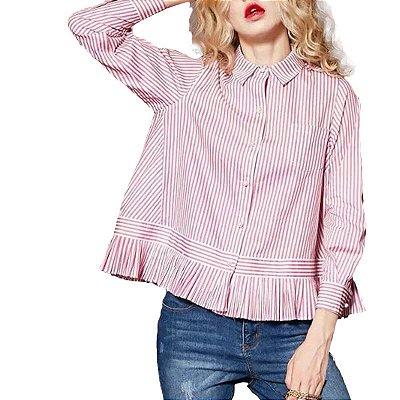 Camisa Listrada com Babado - 2 cores