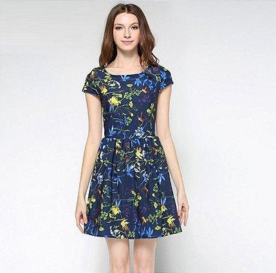 Vestido Estampa Floral Azul