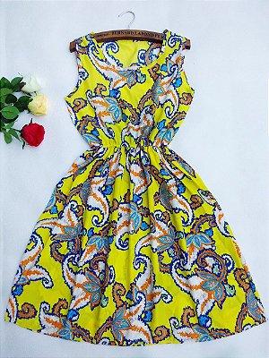Vestido Acinturado Estampa Paisley - 2 cores