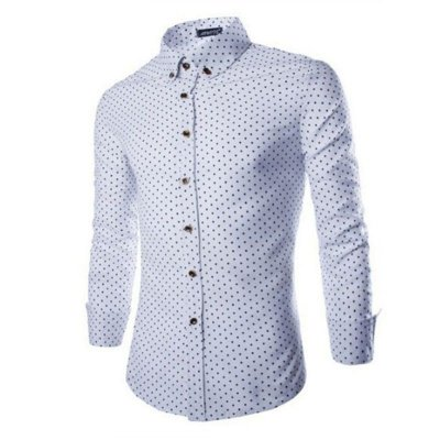 Camisa Masculina Estampa Miúda - Branca