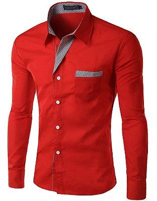 Camisa Masculina com Detalhes Listrados - Vermelha