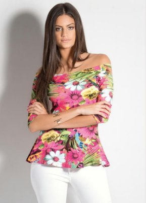 Blusa Decote Ciganinha Peplum Floral