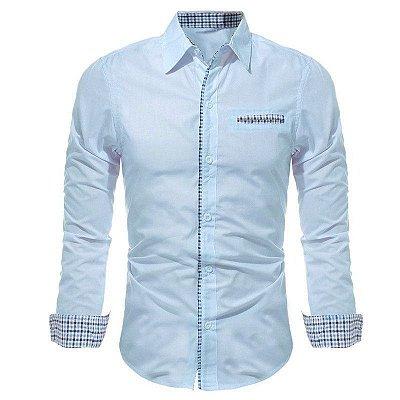 Camisa Masculina com Detalhes Xadrez na Gola, Mangas e Bolso - Azul Claro
