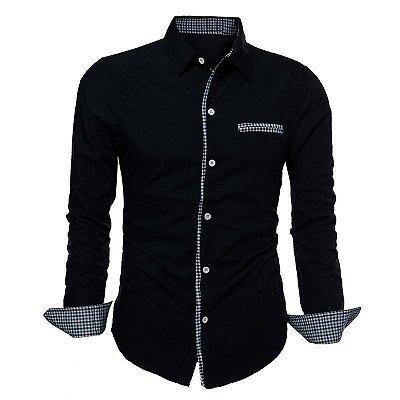 Camisa Masculina com Detalhes Xadrez na Gola, Mangas e Bolso - Azul Marinho