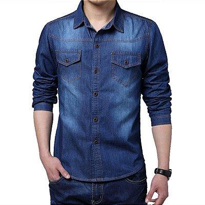 Camisa Masculina Jeans - Azul Escuro