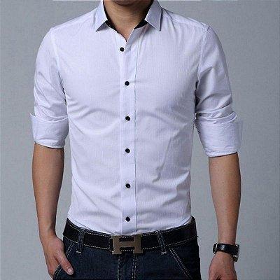 Camisa Masculina Lisa Clássica Branca