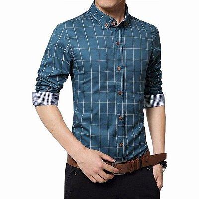 Camisa Masculina Quadriculada Azul Petróleo