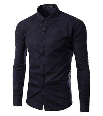 Camisa Masculina Slim Fit Cor Sólida - Azul Marinho