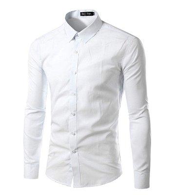 Camisa Masculina Slim Fit Cor Sólida - Verde Militar - MANDORAS 170a70ab49eb8