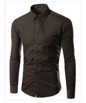 Camisa Masculina Slim Fit Cor Sólida - Marrom
