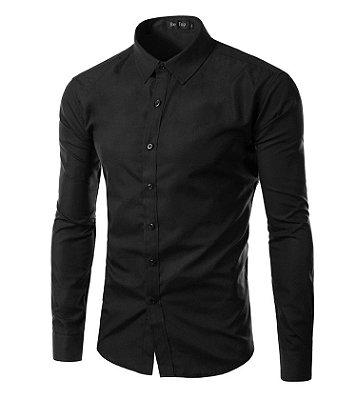 3fc70bd735 Camisa Masculina Slim Fit Cor Sólida - Preta