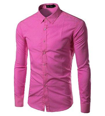 Camisa Masculina Slim Fit Cor Sólida - Rosa
