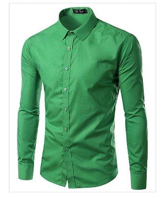 Camisa Masculina Slim Fit Cor Sólida - Verde