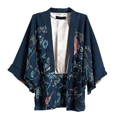 Kimono Azul Estampado
