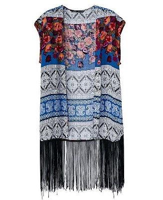 Kimono/Colete Estampado com Franjas