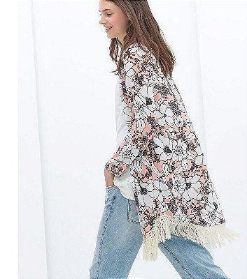 Kimono Floral com Franjas