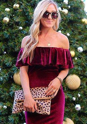 Vestido de Veludo Babado - 2 cores