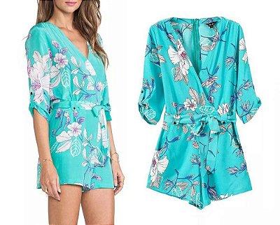 Macaquinho Azul Tiffany Floral