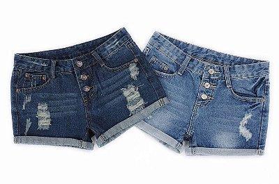 Short Jeans Botões - 2 cores