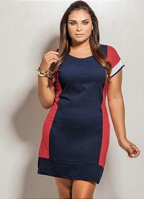Vestido Curto Azul, Vermelho e Branco Plus Size