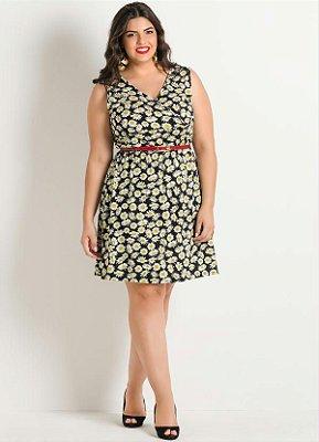 Vestido Estampa Floral Detalhe Vasado Plus Size
