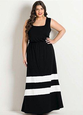 Vestido Longo Preto Listras Brancas Plus Size