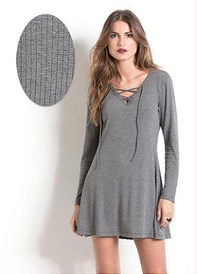 Vestido com Amarração Cinza