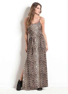 Vestido Longo Animal Print com Fenda
