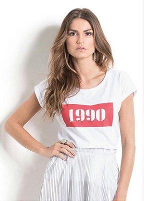 Blusa Branca com Estampa 1990