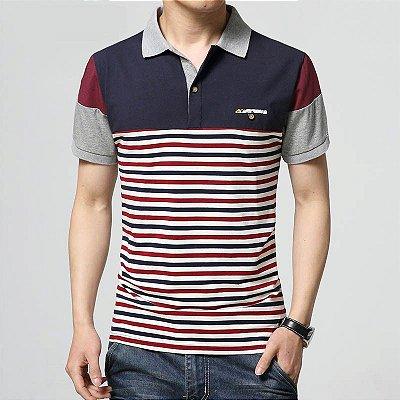 Camiseta Polo Corpo Listrado - 3 cores