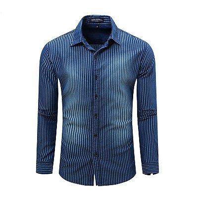 Camisa Jeans Listrada Masculina