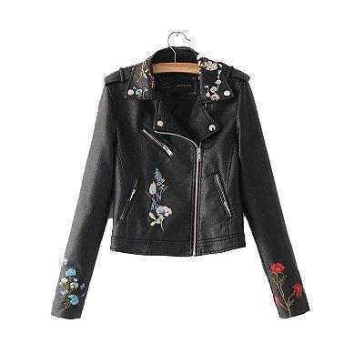 Jaqueta de Couro com Bordado Floral - 4 cores