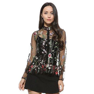 Blusa de Tule com Bordado Floral - 2 cores