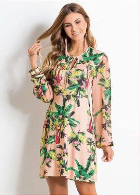 Vestido Tropical Amarração no Decote