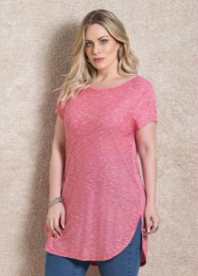 Blusa Alongada Rosa Plus Size