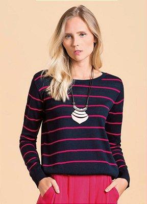 Suéter em Tricô Listrado Marinho e Rosa