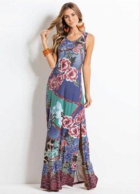 Vestido Longo Floral Marinho com Fendas
