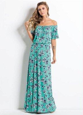 Vestido Longo Floral Ombro a Ombro