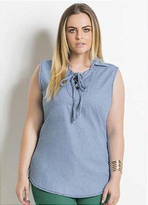 Blusa Jeans com Gola Plus Size