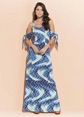 Vestido Ciganinha Abstrato Azul