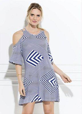 Vestido Geométrico Azul Ombros Vazados