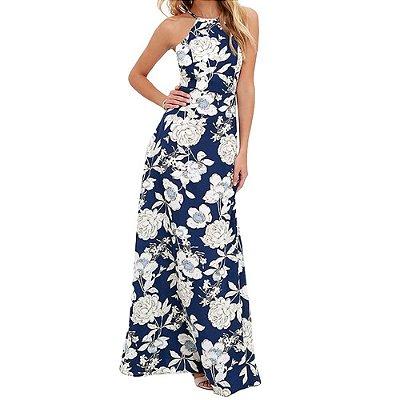 Vestido Floral Azul Longo