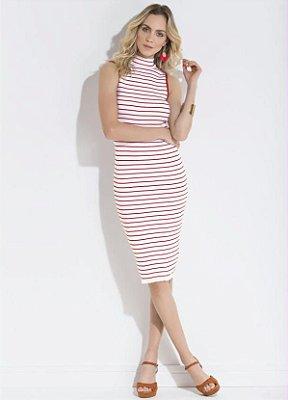 Vestido Midi Listrado Vermelho e Branco