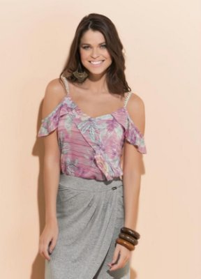 Blusa Floral com Babado e Detalhe Alças