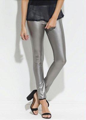 Calça Legging Metalizada Prata