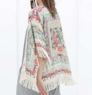 Kimono Floral com Franjas Bege